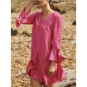 Anthropologie HD In Paris Pink Bell Sleeve Dress